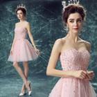 Strapless Applique Mini Prom Dress