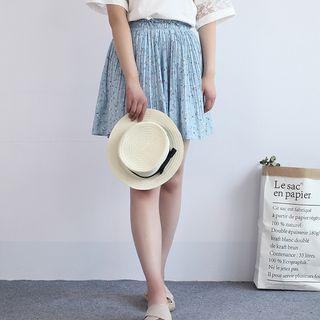 Floral Print A-line Chiffon Skirt