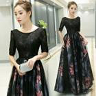 Elbow-sleeve Panel Floral Evening Gown