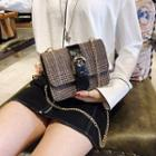 Buckled Houndstooth Chain Strap Crossbody Bag