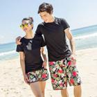 Couple Matching Floral Print Shorts