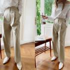 Buckled High-waist Baggy Pants
