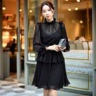 Long-sleeve Layered Chiffon Dress