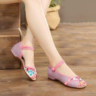 Embroidered Peep-toe Frog-button Block Heel Sandals