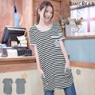Pocket Front Striped T-shirt Dress
