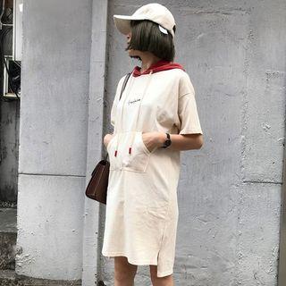 Color Panel Short Sleeve Hoodie Dress