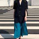 Short-sleeve Blazer / Midi Skirt