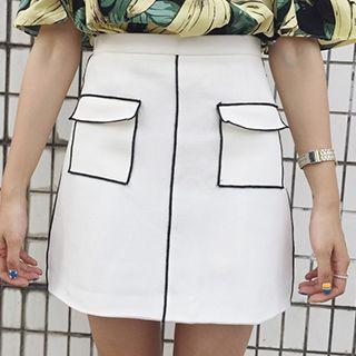 Piped A-line Skirt