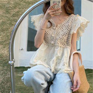 Crochet Knit Panel Eyelet Short-sleeve Top
