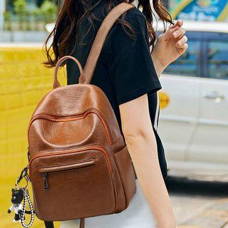 Nylon Backpack / Faux Leather Backpack
