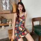 Flower Printed Sleeveless Dress As Figure - One Size