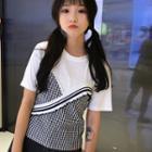 Plaid Panel Short Sleeve T-shirt