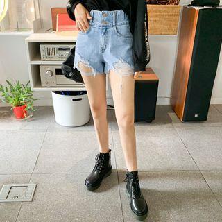 Double-button Distressed Denim Shorts
