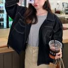 Pocket Detail Denim Jacket Black - One Size