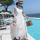 Lace Open Back Halter-neck Midi A-line Dress