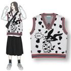 Printed Knit Vest White - One Size