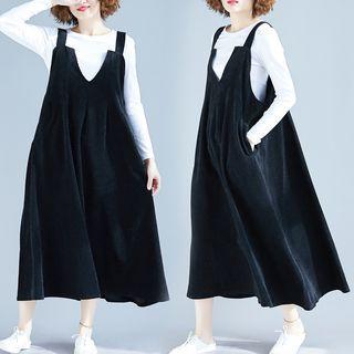 Corduroy Midi Pinafore Dress Black - One Size