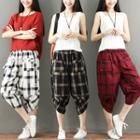 Plaid Cropped Baggy Pants