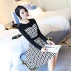 Houndstooth Panel Long Sleeve Dress