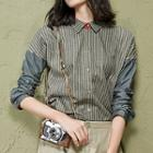 Denim-panel Striped Shirt