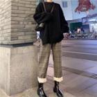 Plain Loose-fit Sweater / Plaid Pants