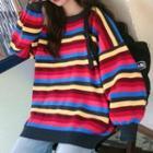 Striped Sweater Stripes - Red & Beige - One Size