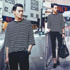 Striped Elbow-sleeve T-shirt