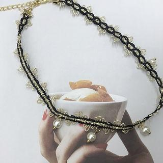 Faux-pearl Choker Gold - One Size