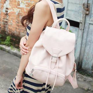Faux Leather Drawcord Backpack