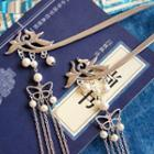 Faux Pearl Butterfly Hair Stick 1 Pc - As Shown In Figure - One Size