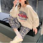 Print Sweatshirt / Plaid Harem Pants