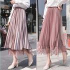 Lace Paneled A-line Midi Pleated Skirt