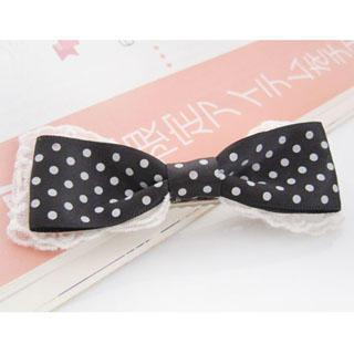 Lace Dotted Bow Hair Pin -black One Size