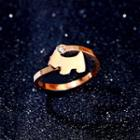 Dog Rhinestone Open Ring