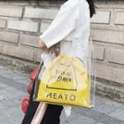 Pvc Tote With Lettering Drawstring Pouch