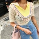 Collared Tasseled Pointelle-knit Top