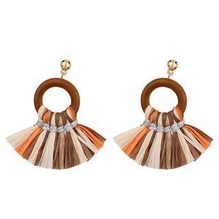 Fringed Wooden Hoop Dangle Earring