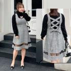 Plaid Mesh Panel A-line Pinafore Dress