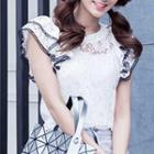 Short-sleeve Lace Ruffled Top