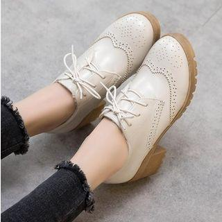 Faux Leather Brogue Block Heel Oxfords