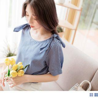 Bow Shoulder Short Sleeve Gingham Top