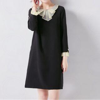 Mock Two-piece 3/4-sleeve Shift Dress
