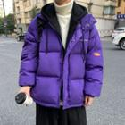 Mock Two Piece Patch Hooded Padded Coat