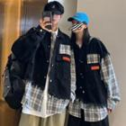 Couple Matching Mock Two Piece Plaid Shirt