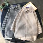 Short Sleeve Check Loose-fit Shirt