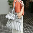 Striped Drawstring Shopper Bag