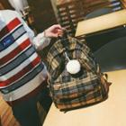 Ball-accent Plaid Backpack