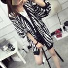Zebra Patterned Long Cardigan