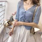 Short-sleeve Drawstring Cropped Pointelle Knit Top