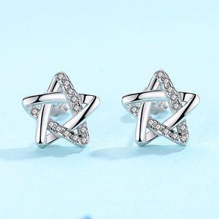 Cz Sterling Silver Star Studs